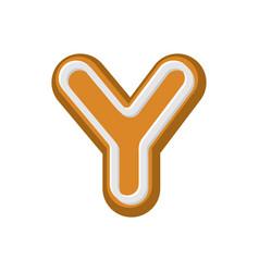 letter y gingerbread peppermint honey-cake font vector image