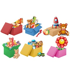 Six boxes of toys vector image vector image