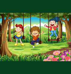 three kids on swings in the woods vector image vector image