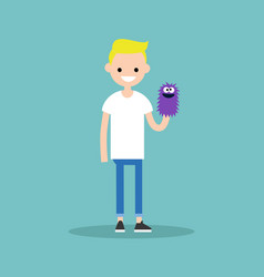young character playing with a hand puppet flat vector image vector image