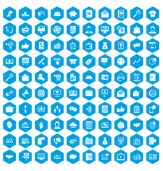 100 viral marketing icons set blue vector