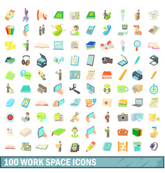 100 work space icons set cartoon style vector