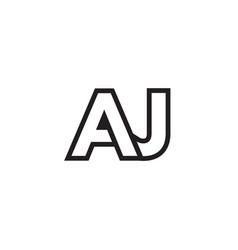 A j lines letter lines logo design vector