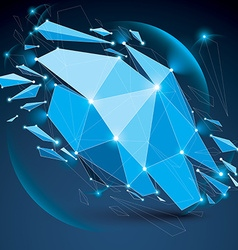 Abstract low poly wrecked blue object with lines vector