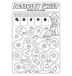 Activity sheet gardener theme 1 vector