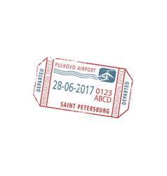 Airport visa stamp in russia saint petersburg vector