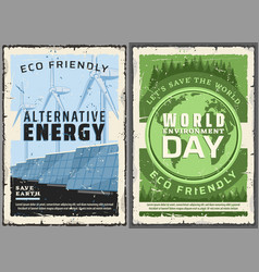 Alternative energy sources world environment day vector