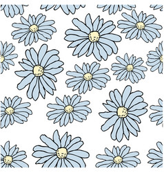 Beautiful blue daisy flowers on whote background vector