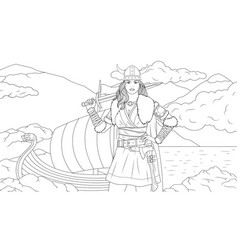 beautiful woman warrior with a sword coloring book vector image