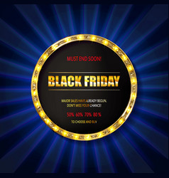 black friday special offer on gold badge vector image