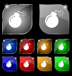 Bomb icon sign Set of ten colorful buttons with vector