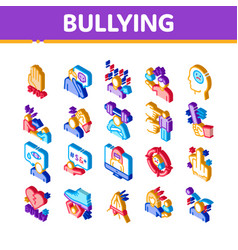 Bullying aggression isometric icons set vector