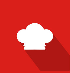 Chef hat flat icon with red background vector