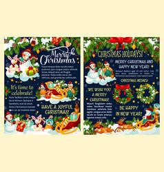 christmas gift snowman and santa sleigh poster vector image