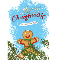 christmas postcard with fir branch and gingerbread vector image