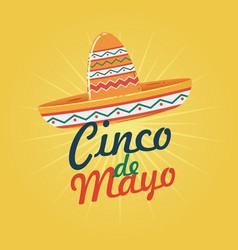 cinco de mayo with sombrero vector image