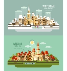 city town logo design template house vector image