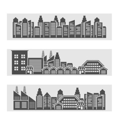 Cityscape icons banner vector image