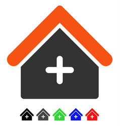 Clinic building flat icon vector