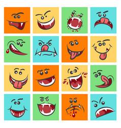 Colorful emoticon faces cute vector