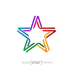 colorful star from ribbon on white background vector image