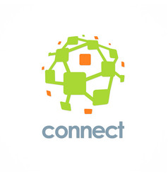 connection technology logo vector image