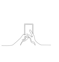 continuous one line drawing hands holding phone vector image