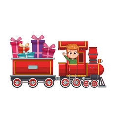 Cute boy in train with gifts cartoon vector