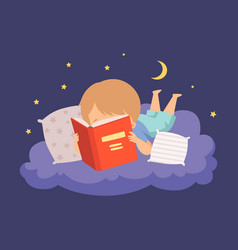Cute boy lying on a cloud at night and reading a vector