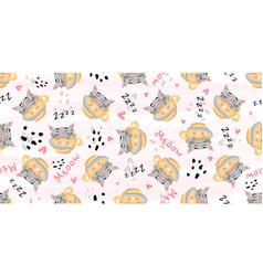cute cat sleeping seamless pattern print vector image