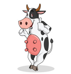 cute cow is standing smiling cartoon mascot vector image