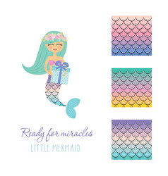 Cute mermaid with birthday present box and scale vector