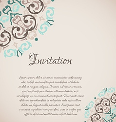 damask ornamental corner frame with a place for vector image