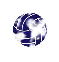 dark blue halftone volleyball vector image