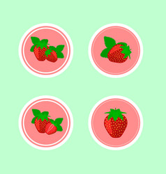 Design stickers with juicy ripe strawberry vector