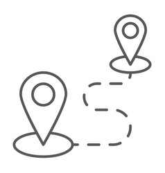 Destination thin line icon map and location vector