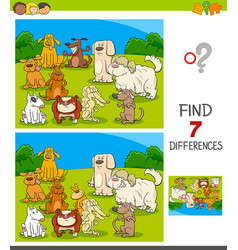 Differences game with dog characters vector