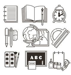 Education isolated icons school or college vector
