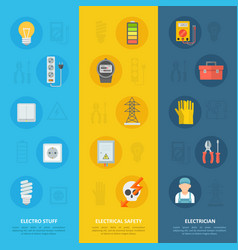 Electricity safety and electrician icon set vector
