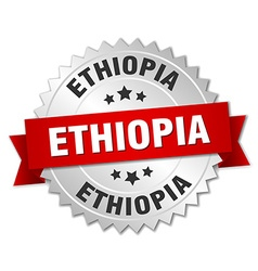 Ethiopia round silver badge with red ribbon vector