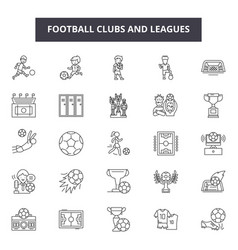 football clubs and leagues line icons signs vector image