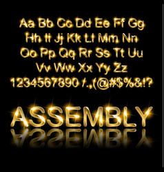 Golden english alphabet on a black background vector