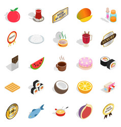 grocery icons set isometric style vector image