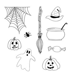 hand drawn halloween scary icons or elements vector image