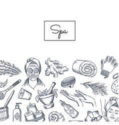 Hand drawn spa elements background with vector