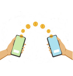 hands holds a phone and falling money transferred vector image