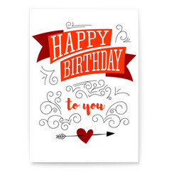 happy birthday design text lettering vintage vector image