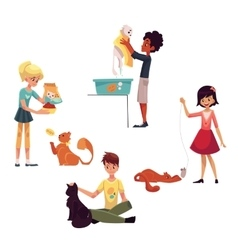 Happy kids feeding washing stroking a cat vector image