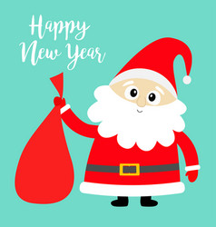 happy new year santa claus holding carrying sack vector image