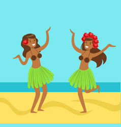 Hawaiian girl in grass skirt with hibiscus in vector